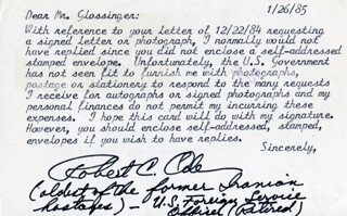 ROBERT C. ODE - TYPED LETTER SIGNED 01/26/1985