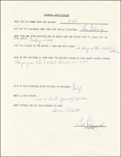 TED BIG KLU KLUSZEWSKI - QUESTIONNAIRE SIGNED