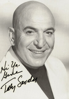 TELLY SAVALAS - AUTOGRAPHED INSCRIBED PHOTOGRAPH