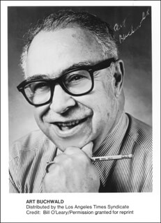 ART BUCHWALD - PRINTED PHOTOGRAPH SIGNED IN INK