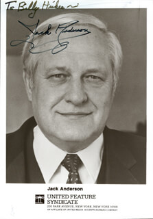 JACK ANDERSON - AUTOGRAPHED SIGNED PHOTOGRAPH