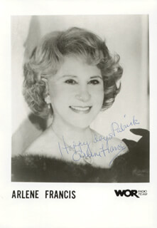 ARLENE FRANCIS - INSCRIBED PRINTED PHOTOGRAPH SIGNED IN INK