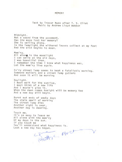 BETTY LYNN BUCKLEY - TYPED LYRIC(S) SIGNED