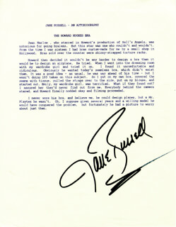 Autographs: JANE RUSSELL - TYPESCRIPT SIGNED