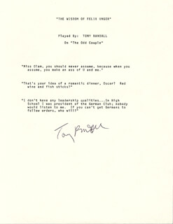 Autographs: TONY RANDALL - TYPESCRIPT SIGNED