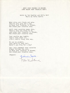 LILLIAN GISH - TYPED LYRIC(S) SIGNED CO-SIGNED BY: FRANKIE LAINE