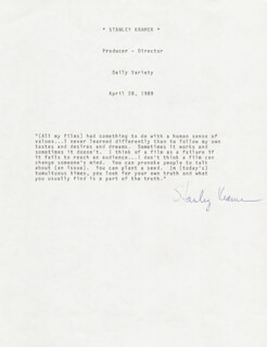 Autographs-original Cheap Sale Stanley Kramer Signed Letter