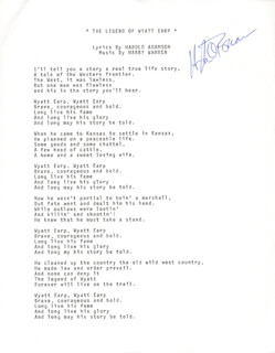 Autographs: HUGH O'BRIAN - TYPED LYRIC(S) SIGNED