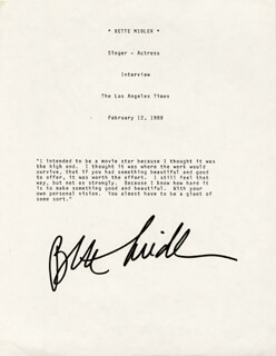 Autographs: BETTE MIDLER - TYPED QUOTATION SIGNED