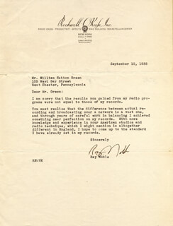RAY NOBLE - TYPED LETTER SIGNED 09/19/1935