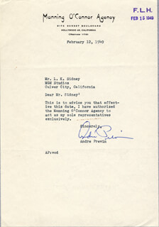ANDRE PREVIN - TYPED LETTER SIGNED 02/12/1949
