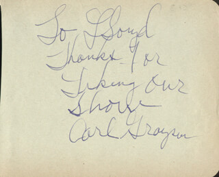 CARL GRAYSON - AUTOGRAPH NOTE SIGNED CO-SIGNED BY: CANDY HALL