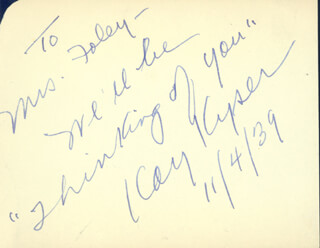 KAY KYSER - AUTOGRAPH NOTE SIGNED 11/04/1939