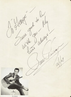 BILL WHISPERING BILL ANDERSON - AUTOGRAPH NOTE SIGNED 12/01/1967