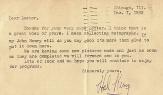 HAL KEMP - TYPED LETTER SIGNED 12/01/1933