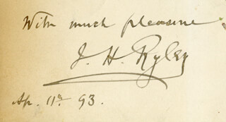 JOHN HANDFORD RYLEY - AUTOGRAPH SENTIMENT SIGNED 04/11/1893