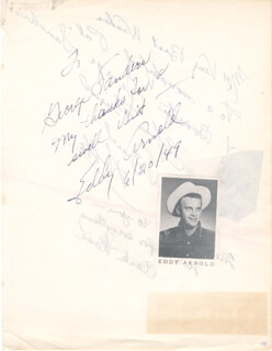 EDDY ARNOLD - INSCRIBED SIGNATURE 06/20/1949 CO-SIGNED BY: BUD HOBBS, CLARK ROSS