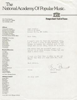 OSCAR BRAND - TYPED LETTER SIGNED 07/19/1977
