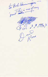 DAVID ROSE - AUTOGRAPH NOTE SIGNED