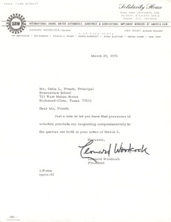 LEONARD F. WOODCOCK - TYPED LETTER SIGNED 03/29/1976