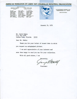 GEORGE MEANY - TYPED LETTER SIGNED 01/30/1979