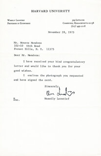 Autographs: WASSILY LEONTIEF - TYPED LETTER SIGNED 11/28/1973