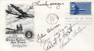 BRIGADIER GENERAL CHUCK YEAGER - FIRST DAY COVER SIGNED CO-SIGNED BY: BRIGADIER GENERAL ROBERT L. SCOTT JR., MAJOR GENERAL JOHN ALISON, CHARLES DU BOIS, BRUCE K. HOLLOWAY