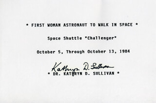 Autographs: CAPTAIN KATHRYN D. SULLIVAN - TYPED CARD SIGNED