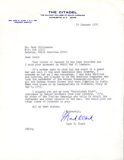 Autographs: GENERAL MARK W. CLARK - TYPED LETTER SIGNED 01/19/1976