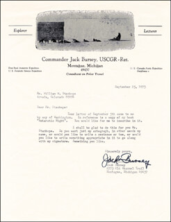 Autographs: JACK BURSEY - TYPED LETTER SIGNED 09/25/1973