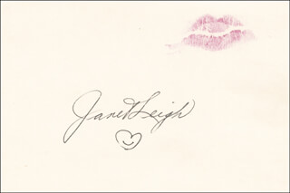 JANET LEIGH - LIP PRINT SIGNED