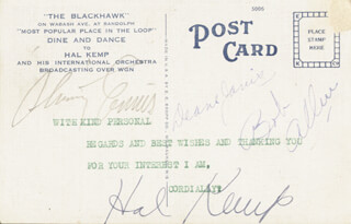 HAL KEMP - PICTURE POST CARD SIGNED CO-SIGNED BY: BOB ALLEN, DEANE JANIS, ROBERT SKINNAY ENNIS