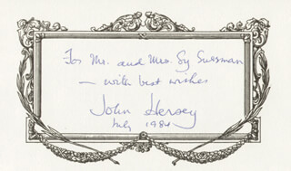 JOHN HERSEY - AUTOGRAPH NOTE SIGNED 7/1984