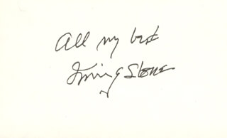 IRVING STONE - AUTOGRAPH SENTIMENT SIGNED