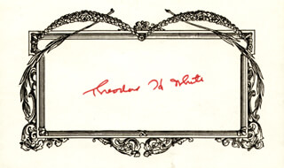 THEODORE H. WHITE - PRINTED CARD SIGNED IN INK