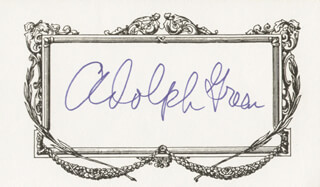 ADOLPH GREEN - PRINTED CARD SIGNED IN INK
