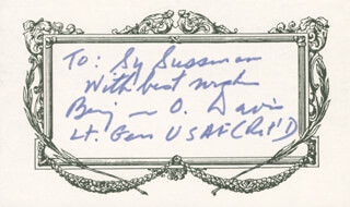 GENERAL BENJAMIN O. DAVIS JR. - AUTOGRAPH NOTE ON PRINTED CARD SIGNED IN INK