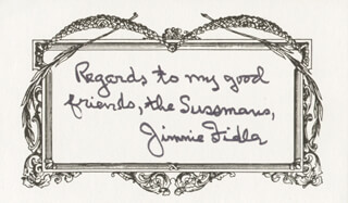 JAMES JIMMIE FIDLER - AUTOGRAPH NOTE SIGNED