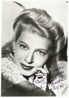 IRENE MANNING - AUTOGRAPHED INSCRIBED PHOTOGRAPH 04/22/1990