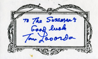 TOM LASORDA - AUTOGRAPH NOTE SIGNED