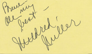 MILDRED MILLER - AUTOGRAPH NOTE SIGNED