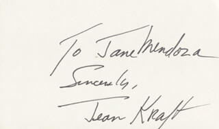JEAN KRAFT - AUTOGRAPH NOTE SIGNED