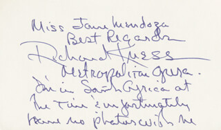 RICHARD KNESS - AUTOGRAPH NOTE SIGNED