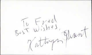 KATHRYN GRANT CROSBY - AUTOGRAPH NOTE SIGNED