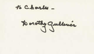 DOROTHY GULLIVER - INSCRIBED SIGNATURE