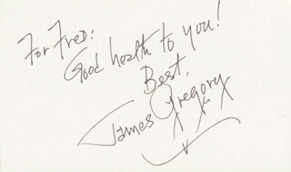 JAMES GREGORY - AUTOGRAPH NOTE DOUBLE SIGNED 06/27/1986