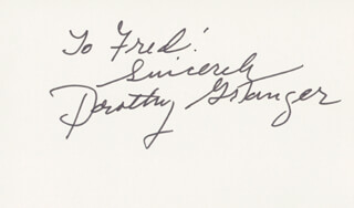 DOROTHY GRANGER - AUTOGRAPH NOTE SIGNED