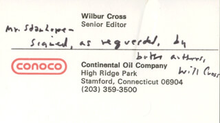 GOVERNOR WILBUR L. CROSS - AUTOGRAPH NOTE ON BUSINESS CARD SIGNED