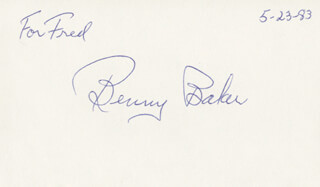 Autographs: BENNY BAKER - INSCRIBED SIGNATURE 05/23/1983
