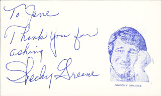 SHECKY GREENE - AUTOGRAPH NOTE SIGNED